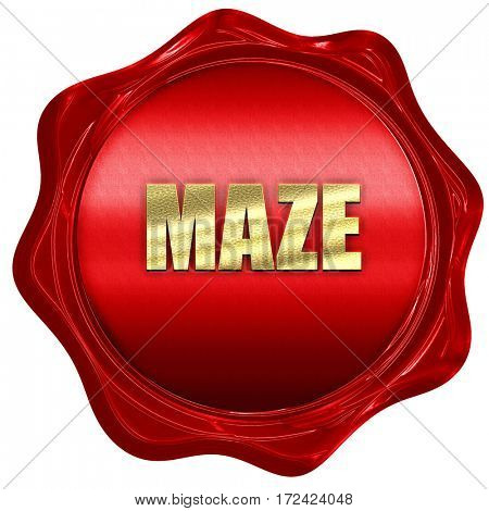 maze, 3D rendering, red wax stamp with text