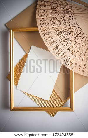 elegant background with frame golden texture. Copy space for text