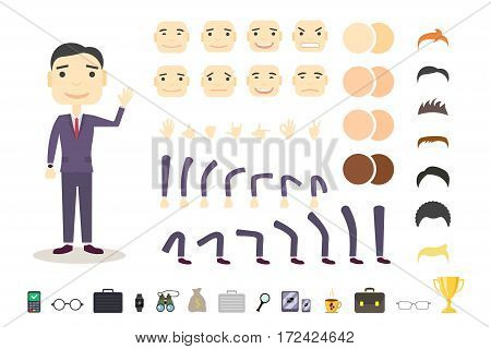 Businessman character creation set. Build your own design. Cartoon vector flat-style. White background. Vector illustration