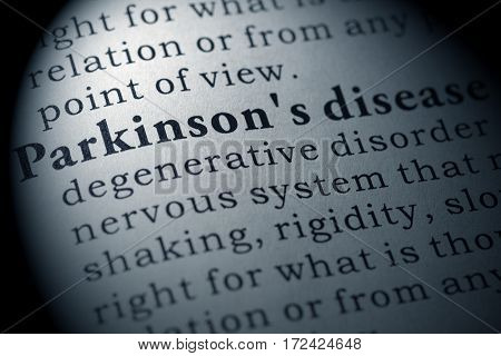 Fake Dictionary Dictionary definition of the word Parkinson's disease. including key descriptive words.