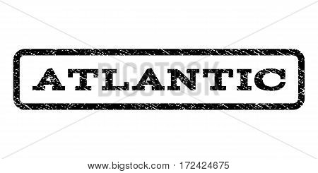 Atlantic watermark stamp. Text caption inside rounded rectangle with grunge design style. Rubber seal stamp with unclean texture. Vector black ink imprint on a white background.