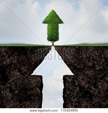 Level Up concept as a progress symbol for business success or personal growth aspiration as a cliff and a tree shaped as an arrow with 3D illustration elements.