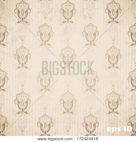 Abstract seamless background. Blotches stripes and vintage damask pattern.