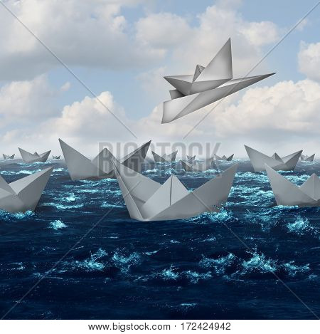 Innovative solutions and creative innovation concept as a paper boat being lifted up and taken away with an airplane as a competitive advantage in a 3D illustration style.