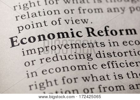 Fake Dictionary Dictionary definition of the word economic reform. including key descriptive words.