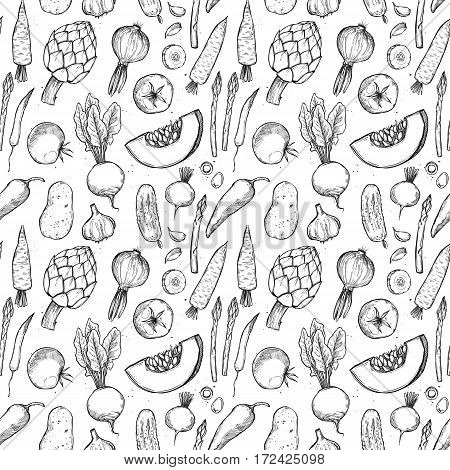 Hand Drawn Vector Seamless Pattern -  Vegetables (carrots, Potatoes, Tomatoes, Asparagus, Artichoke)