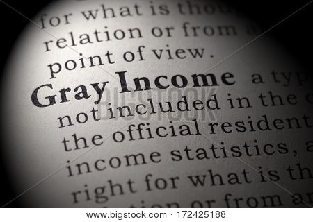 Fake Dictionary Dictionary definition of the word gray income. including key descriptive words.