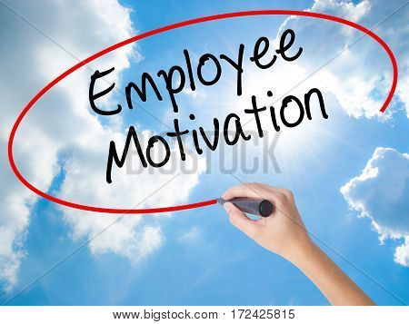 Woman Hand Writing Employee Motivation With Black Marker On Visual Screen.