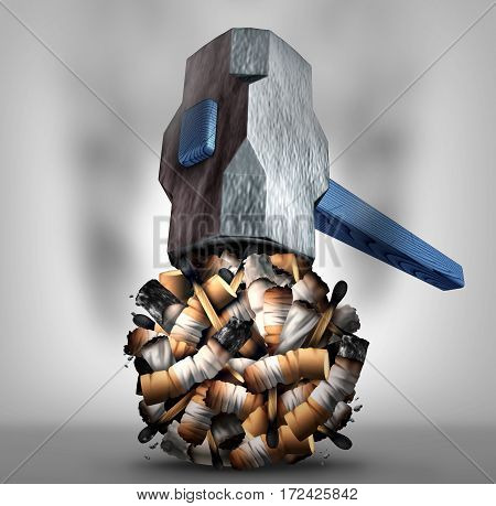 Crushing cigarette concept and quitting or stop smoking tobacco habit symbol as a hammer destroying nicotine addiction products as a 3D illustration.