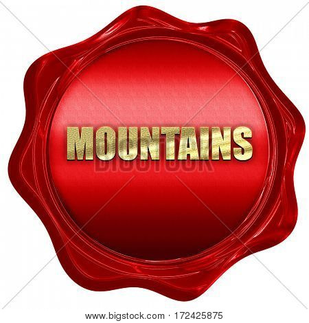mountains, 3D rendering, red wax stamp with text