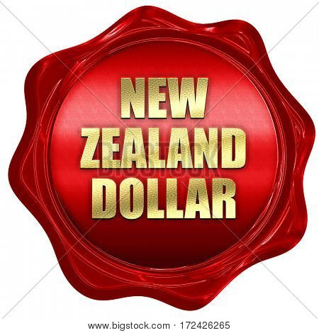 new zealand dollar, 3D rendering, red wax stamp with text