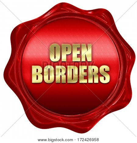 open borders, 3D rendering, red wax stamp with text