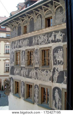 sgraffito art on building in the old town square, prague, czech republic. near the astronomical clock. photo taken may 2002.