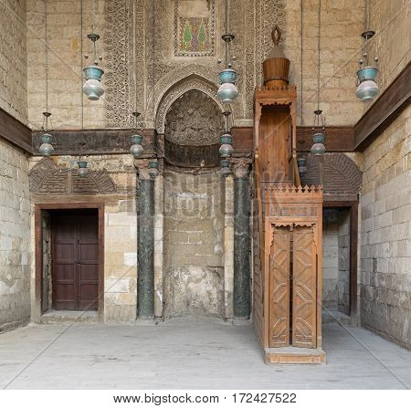 Cairo, Egypt - February 11, 2017: Interior of theological school and Mausoleum of Sultan Qalawun, Moez Street, Old Cairo