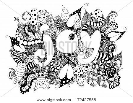 Vector illustration zentangle word Joy with patterns. Doodle drawing, monkey, kids. Coloring book anti stress for adults and children. Black and white.