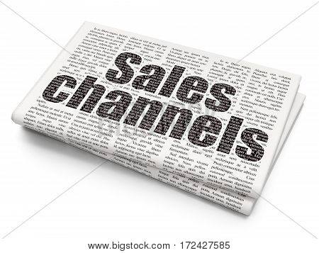 Marketing concept: Pixelated black text Sales Channels on Newspaper background, 3D rendering