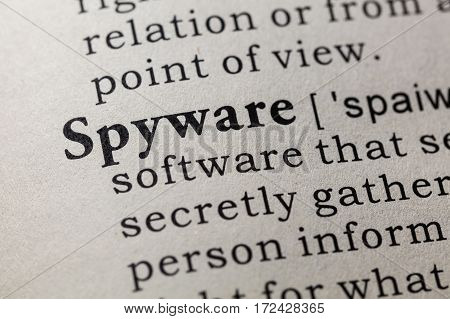 Fake Dictionary Dictionary definition of the word spyware. including key descriptive words.