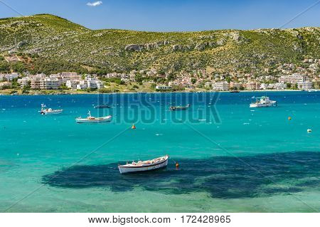 Porto Rafti, Athens suburban harbor view with fisher boats during springtime, Greece