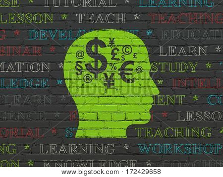 Learning concept: Painted green Head With Finance Symbol icon on Black Brick wall background with  Tag Cloud