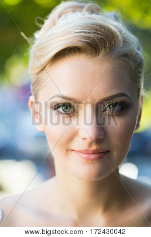 Pretty Girl With Beautiful Makeup And Blond Hair