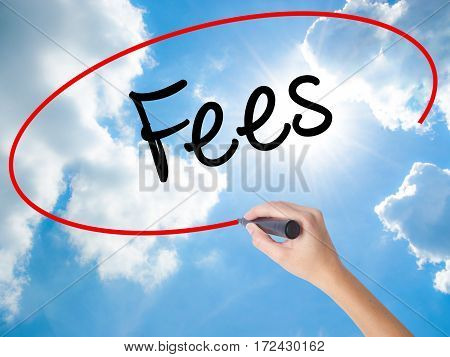Woman Hand Writing Fees With Black Marker On Visual Screen