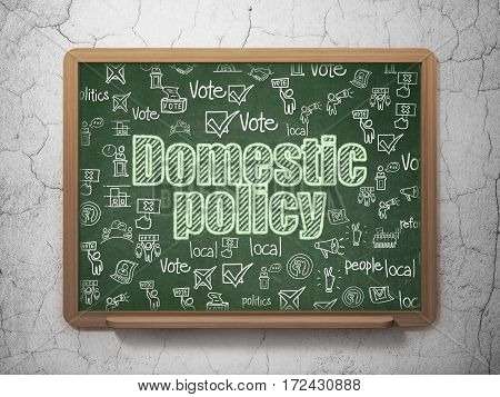 Political concept: Chalk Green text Domestic Policy on School board background with  Hand Drawn Politics Icons, 3D Rendering