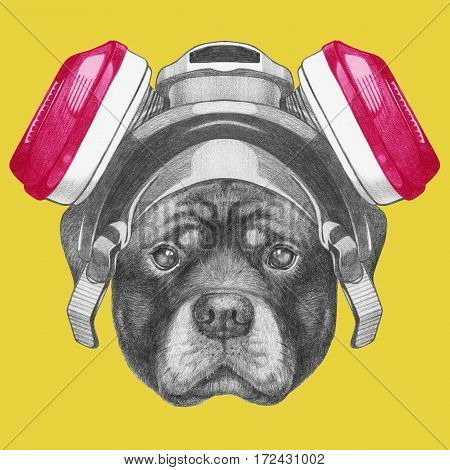 Portrait of Rottweiler gas mask. Hand drawn illustration.