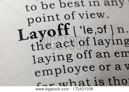 Fake Dictionary Dictionary definition of the word layoff. including key descriptive words.