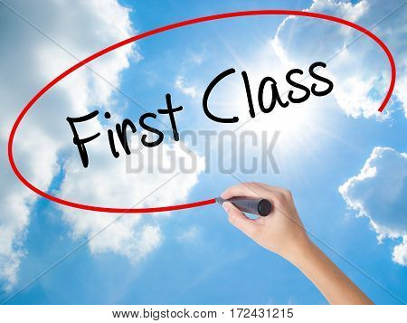 Woman Hand Writing First Class With Black Marker On Visual Screen