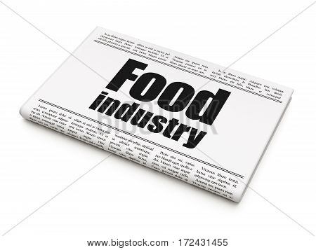 Manufacuring concept: newspaper headline Food Industry on White background, 3D rendering