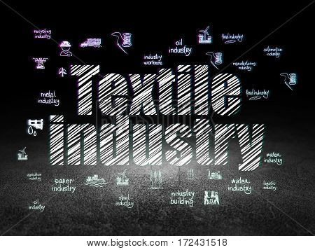 Industry concept: Glowing text Textile Industry,  Hand Drawn Industry Icons in grunge dark room with Dirty Floor, black background
