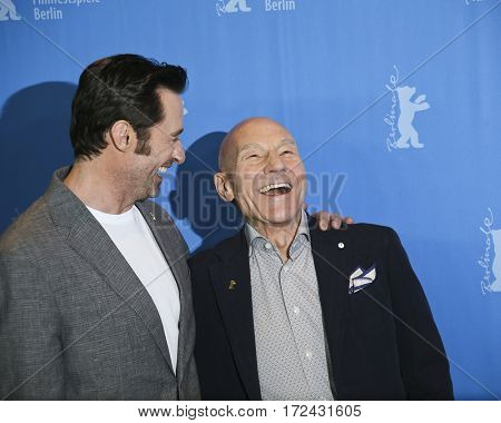 BERLIN, GERMANY - FEBRUARY 17:  Hugh Jackman, Patrick Stewart attend the 'Logan' (Masaryk) photo call during the 67th Berlinale Festival Berlin at Hyatt Hotel on February 17, 2017 in Berlin, Germany.