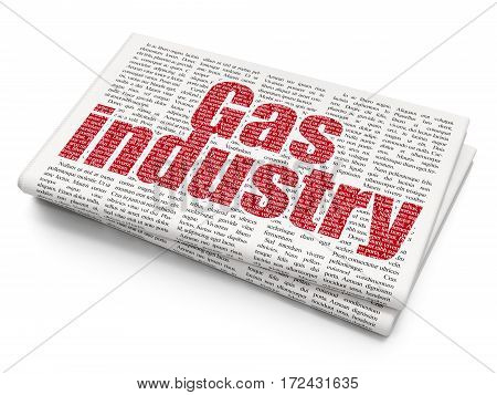 Industry concept: Pixelated red text Gas Industry on Newspaper background, 3D rendering