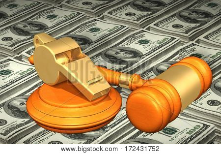 Whistle-Blower Law Legal Gavel Concept 3D Illustration