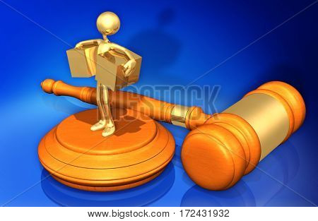 Trade Law Legal Gavel Concept With The Original 3D Character Illustration