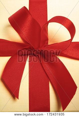 Close Up Of Present With Red Ribbon