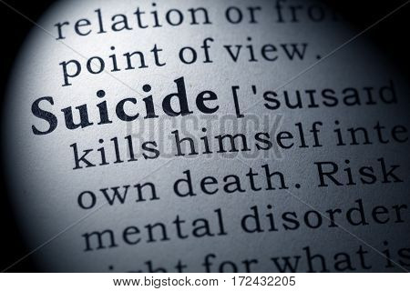 Fake Dictionary Dictionary definition of the word suicide. including key descriptive words.