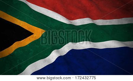 Grunge Flag Of South Africa - Dirty South African Flag 3D Illustration