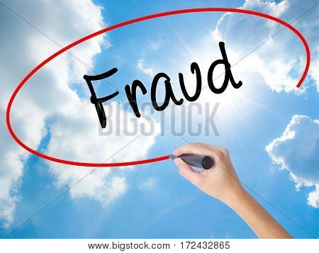 Woman Hand Writing Fraud With Black Marker On Visual Screen