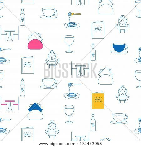 Cafe service line icon seamless pattern. Blue outline objects of food and drink on white background.