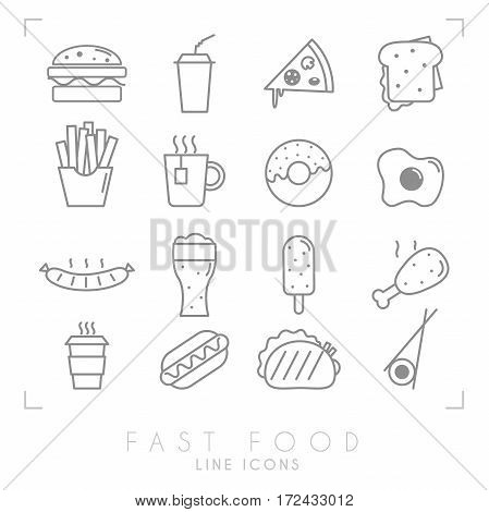 Set of line fast food icons. Flat style. Coffee hamburger pizza sandwich fried potato tea donut egg grilled sausage beer ice cream chicken hot dog tacos sushi roll