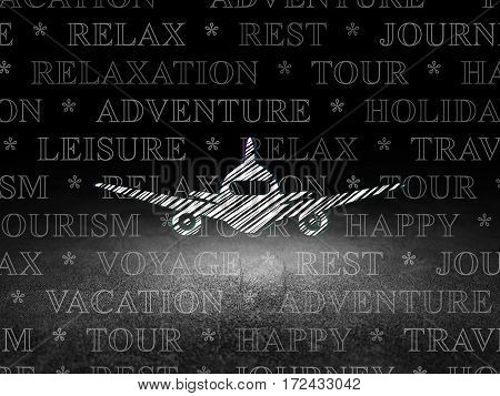Travel concept: Glowing Aircraft icon in grunge dark room with Dirty Floor, black background with  Tag Cloud