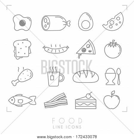 Set of line daily food icons. Flat style. Fried egg sausage boiled egg cheese sandwich pizza tomato chicken leg cup of tea bread egg fish bacon cake apple