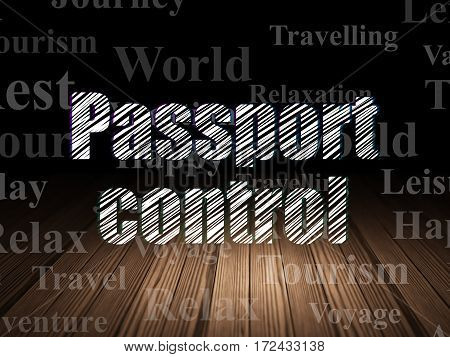Tourism concept: Glowing text Passport Control in grunge dark room with Wooden Floor, black background with  Tag Cloud