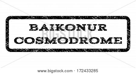 Baikonur Cosmodrome watermark stamp. Text tag inside rounded rectangle frame with grunge design style. Rubber seal stamp with dust texture. Vector black ink imprint on a white background.