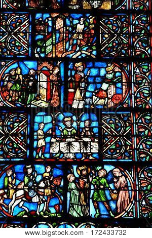 Reims France - july 26 2016 : stained glass window of the Saint Remi basilica