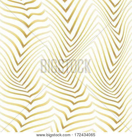 Abstract Golden Pattern Of Distorted Figures On A White Background.