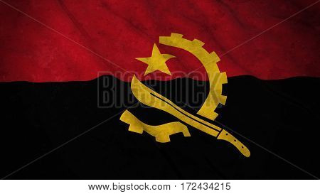 Grunge Flag Of Angola - Dirty Angolan Flag 3D Illustration