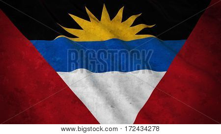 Grunge Flag Of Antigua And Barbuda - Dirty Antiguan Or Barbudan Flag 3D Illustration