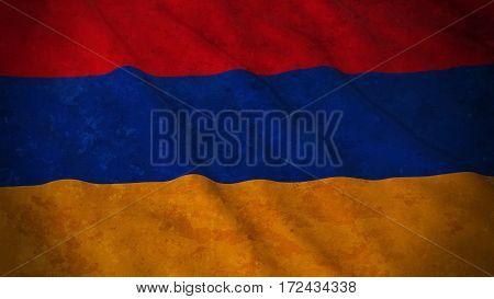Grunge Flag Of Armenia - Dirty Armenian Flag 3D Illustration